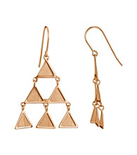 Brass Fine Silver Pltd Rosegold Pltd Triangle Wire Drop Earring