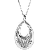 Brass Fine Silver Pltd Rhodium Pltd Beaded Teardrop Pendant On 18 Chain