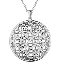 Brass Fine Silver Pltd Rhodium Pltd Woven Circle Pendant On 18