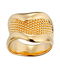 Brass Fine Silver Pltd Gold Flash Beaded Ring