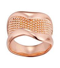 Brass Fine Silver Pltd Rosegold Flash Beaded Ring