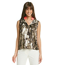 T Tahari® Printed Pop Color Neveen Blouse