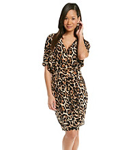 Chaus Dolman Wrap Leopard Dress