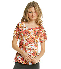 Laura Ashley® Petites' Scratch Rose Tee