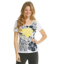 Laura Ashley® Petites' Hibiscus Floral Tee