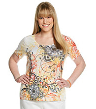 Laura Ashley® Plus Size Medallion Scroll Tee