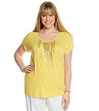 Laura Ashley® Plus Size Beaded Waterfall Top