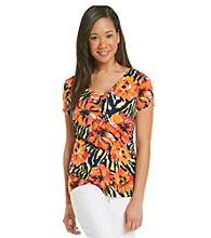 Laura Ashley® Zebra Floral V-Neck Top