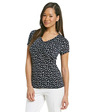 Laura Ashley® Petites' Sketch Dot V-Neck Top