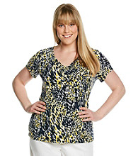 Laura Ashley® Plus Size Painted Animal V-Neck Top