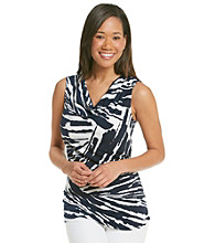 Laura Ashley® Streak Print Drapeneck Tank