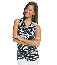 Laura Ashley® Petites' Streak Print Drapeneck Tank