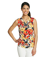 Laura Ashley® Petites' Brushed Garden Drapeneck Tank