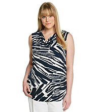 Laura Ashley® Plus Size Streak Print Drapeneck Tank