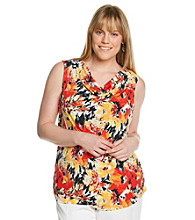 Laura Ashley® Plus Size Brushed Garden Drapeneck Tank