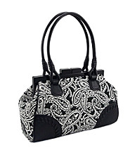 Koret™ Paisley Print Top Framed Satchel with Leather Trim