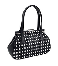 Koret™ Leather Woven Checkered Snap Double Handle Satchel