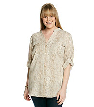Calvin Klein Plus Size Printed Roll Sleeve Blouse