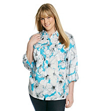 Rafaella® Plus Size Button Front Roll Sleeve Floral Shirt