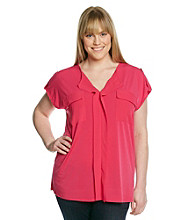 Jones New York Signature® Plus Size Extended Shoulder Woven Top