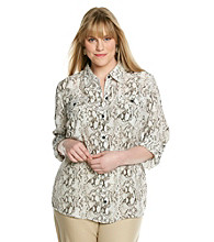 Notations® Plus Size Woven Shirt