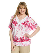 AGB® Plus Size Crinkle Knit Top