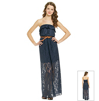 aac657a4fda Trixxi Juniors  Navy Strapless Crochet Maxi Dress Women s - Maxi ...