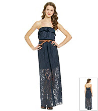 Trixxi® Juniors' Navy Strapless Crochet Maxi Dress