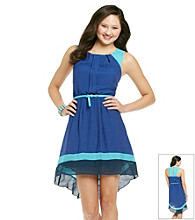 Teeze Me® Juniors' Colorblock Hi Low Dress