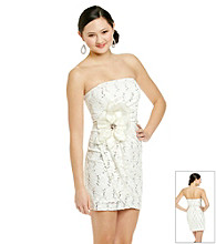 Morgan and Co.® Juniors' Ivory Lace Strapless Dress