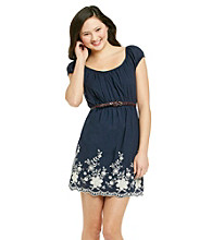 City Triangles® Juniors' Navy Embroidered Dress