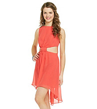 Bee Darlin Juniors' Coral Cut Out Hi-Low Dress