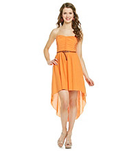 City Triangles® Juniors' Strapless Belted Hi-Low Gauze Dress