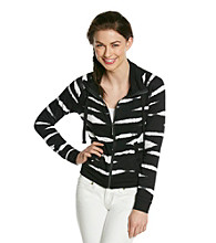 Kensie® French Terry Printed Zip Front Jacket