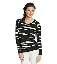 Kensie® French Terry Printed Pullover