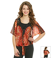 XOXO® Juniors' Lace Inset Sheer Shirt