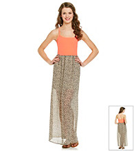 Freebird Juniors' Coral Cheetah Maxi Dress