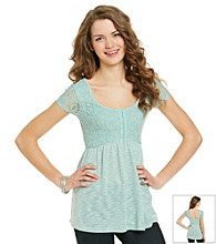 not forever Juniors' Lace Knit Babydoll Top