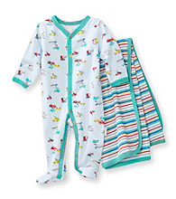 Vitamins Baby® Baby Boys' Blue Trucks Coverall and Blanket Set