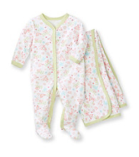Vitamins Baby® Baby Girls' Pink Floral Coverall and Blanket Set