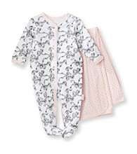 Vitamins Baby® Baby Girls' Pink Ribbon Coverall and Blanket Set