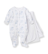Vitamins Baby® Baby Girls' White Floral Coverall and Blanket Set