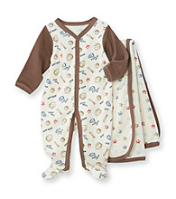 Vitamins Baby® Baby Boys' Brown Baseball Coverall and Blanket Set