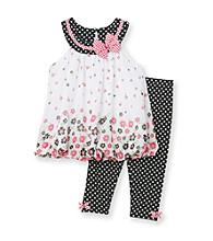 Nannette® Baby Girls' Black 2-pc. Floral Bubble Dress and Leggings Set
