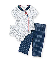 Little Me® Baby Girls' Blue 3-pc. Floral Pants Set