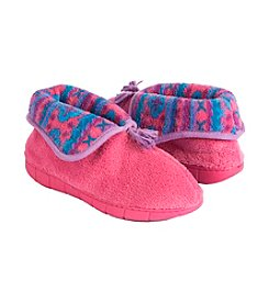 MUK LUKS Flower Fair Isle Bootie Slippers
