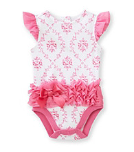Vitamins Baby® Baby Girls' Pink/White Floral Ruffled Bodysuit