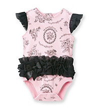 Vitamins Baby® Baby Girls' Pink/Black Floral Ruffled Bodysuit