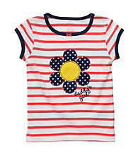 Carter's® Baby Girls' White/Red Striped Flower Tee