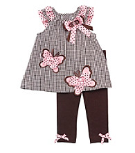 Rare Editions® Baby Girls' Brown/Pink 2-pc. Leggings Set